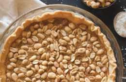 sweet and salty peanut brittle pie